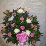 Carnation and Spider Mum Funeral Basket