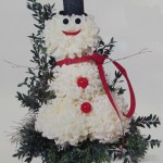 White Football Mums make a Happy Snowman