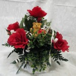 Valentine Bear in Glass Bowl, Order Valentine's Floral Arrangement, Silk Valentin's Arrangement