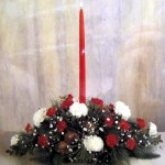 Carnation Christmas Candle Center Piece w/ Pinecone's