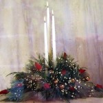 White Candle Christmas Table Center Piece